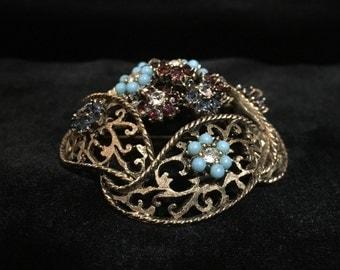 Vintage BSK Jewel Domed Floral Filigree Brooch (Tier 1)