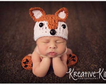Baby Boy Hat FOX - Baby hat - Baby boy Fox Hat - Baby fox set  Newborn Baby Boy Crochet Fox Hat and Paws Booties