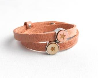 Leather bracelet starwood altrosa