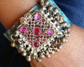 The Vintage Junkie...Etched Brass Cuff with Vintage Repurposed Kuchi Adornment
