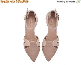 BIRTHDAY SALE Blush pink leather sandals, Vivian, flat buckled sandals