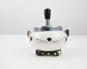 Kool and Kitschy 'Holt Howard' Cozy Kitten Ashtray - Push Handle Down and It 'Meows' - Ceramic With Chrome Top - Blue-eyed Cat - Tobacciana