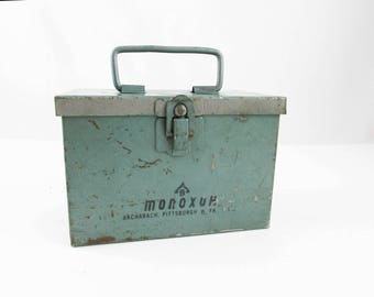 Metal Box With Snap Clasp -  Empty 'Monozor, Bacharach'  Box - Wire Handle - Pearlized Green Painted Box - Quick Access - Wire Handle