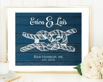 Nautical Wedding Gift Print, Tying The Knot, 3rd anniversary Gift For Newlyweds Fiance Gift xmas gift for wife, Nautical Knots, Sailor Knot