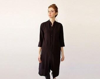 SALE - Long Tunic, Black Tunic Dress, Button Up Shirt Dress, Black Clothing, Shirt Dress, Spring Tunic Top, Black Tops, Modern Dresses, E...