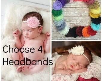 Pick 4 Shabby Chic Headbands, Newborn Headband, Baby Headbands, Headband, Baby Headband, Infant Headband, Baby