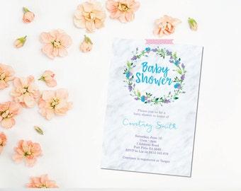 Baby Shower Invitation. Gender Neutral. Marble. Flowers. Flower Baby Shower Invitation. Printable Baby Shower Invitation.