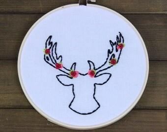 Deer Antlers & Flowers Embroidery Hoop