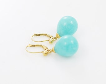Amazonite Drop Earrings, 14Karat Gold, Amazonite Drops, Gemstone Lever BAck Earrings, Blue Earrings