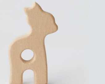 CUSTOM Deer / Fawn Teether - Natural wood, baby teether, nature, silicone