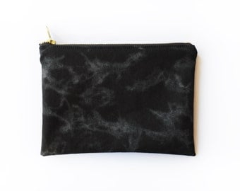 Black Cotton Twill Clutch, Black with Silver Marble Print, Cotton Lining and Gold YKK Metal Zipper, Black Cotton Bag, Make Up Bag