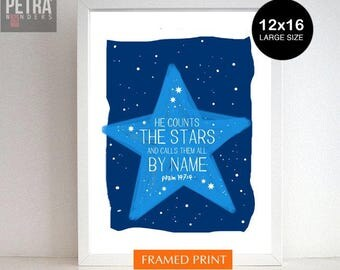 Nursery Print - Bible verse art /Nursery Decor. Christian Art Bible verse-He counts the stars and calls them all by namePsalm 147:4