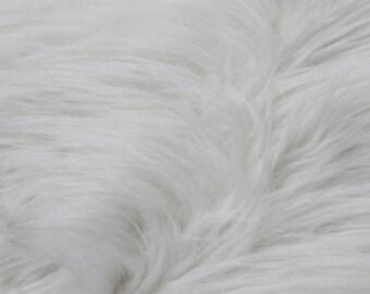 "White 60"" Wide Shag Fur Fabric by the yard,Soft Fake Fur Fabric,Newborn Fur,Faux fur Coat, Vest, Throws,Pillows - 1 Yard Style 5002"