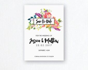 Save the Date - Baby Shower - Bridal Shower - Watercolour - Flowers - Garden Wedding - Summer Wedding Invites