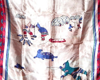 Inuit Eskimo Art Blue Inuit Hunter Scarf