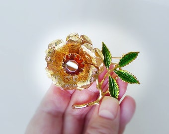 Sarah Coventry Vintage Jewelry Ember Flower 1972, Vintage Signed Designer Brooch Amber Topaz Texture Gold Petals Enamel Leaves Collectible