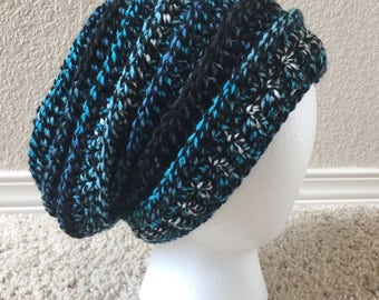 Teal Black White Slouchy Hat Women's