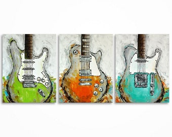 Guitar painting, Guitar art, Music art, Gift for a musician, Music wall art. Les Paul, Original guitar painting on canvas MADE TO ORDER