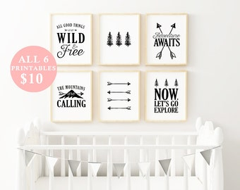 "SALE - Nursery Adventure Bundle- Set of Six 8X10"" Printable digital art - Black and White - Minimalist Kids Art - Typography prints"