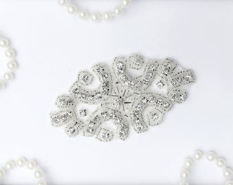 BEST SELLER Beaded Crystal Rhinestone Applique, Wedding Applique,DIY Crystal Rhinestone Applique