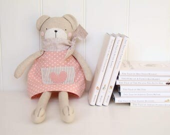 Sweet and retro decorative bear softie - light peachy pink dress