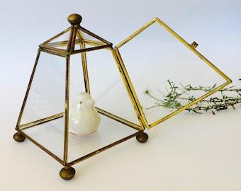 Glass & Brass Box Terrarium Glass Brass Geometric Display Case Glass Terrarium House shaped Vintage Glass Case Lovely Glass Paneled Box