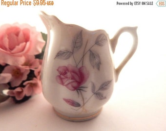 Pitcher Small White Napco Porcelain Creamer Vintage Vase Home Decor Collectible Hand Painted Floral Pink Rose Gold Gilt Trim Tableware
