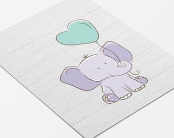 Elephant Nursery Art, Elephant Print, Purple Nursery Decor, Mint Nursery Decor, Nursery Wall Art, Animal Art Print, Elephant Balloon