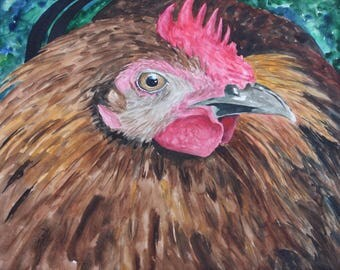 Chicken giclee print of original watercolor painting