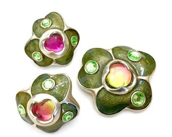 Gemcraft Demi Parure, NOS Brooch Earring Set, Bio-Morphic Shape, Glass Cabochons, Translucent Green Enamel, Vintage Jewelry, Designer Signed