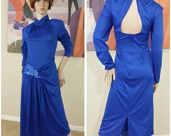 Vintage 80s blue dress size 10 by Gilberti