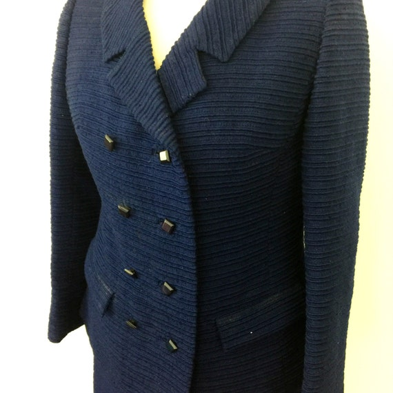 vintage suit navy blue wool two piece jacket pencil skirt boucle striped outfit Mad Men office UK 10 Mod 60s double breasted