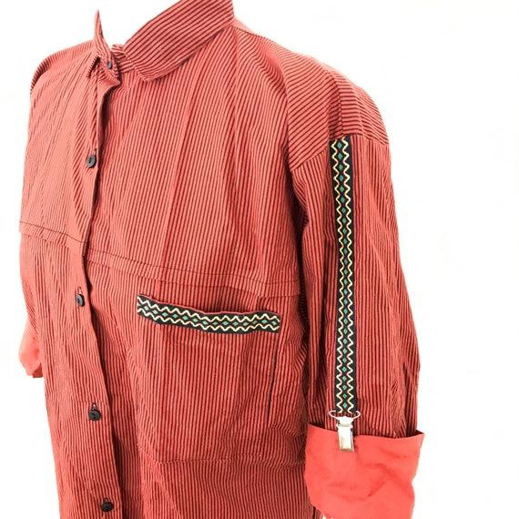 Vintage shirt striped blouse 1980s top orange brown cotton suspenders 80s oversized UK 10 decorative braces square cut avant garde