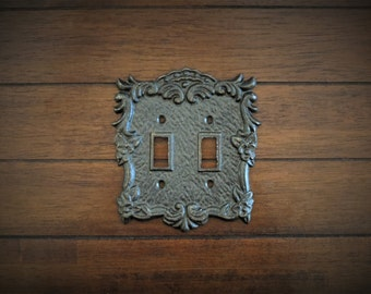 Oil Rubbed Bronze Switch Plate / Double Light Switch Cover / Pick Your Color / Vintage Style / Decorative Cast Iron Metal Light Switch Cover