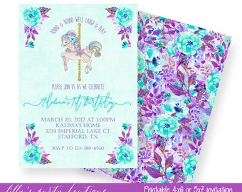 Carousel Birthday Invitation, Watercolor Carousel Invite, Teal & Purple Carousel Invite Carousel Floral First Birthday Invitation- YOU PRINT