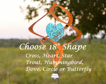 "18"" BreezeWay Copper Wind Spinner Choose - Hummingbird, Dove, Heart, Elephant, Dragon Fly, Butterfly, Cross, Trout, Horse more..."