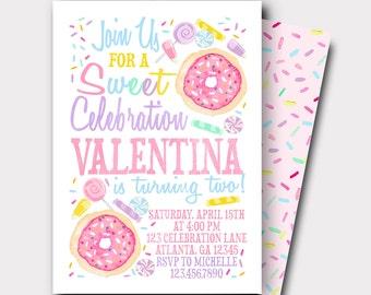 Candy Birthday Invitation   Candy Shop Invitation   Sweet Celebration   Donut Invitation   Donut Birthday Invitation   Lolipop Invitation