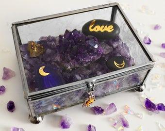 Jardín de cristal amatista / / Zen Rock Garden / / Love Rock / / meditación Altar espiritual / / cristales / metafísica / minerales DIY Kit / Luna
