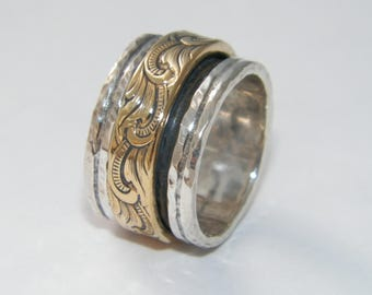 Hammered 2 band OxidizedSterling Silver and Brass Spinner Ring- Stamped.925 Handcrafted-Custom Size