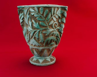 Vintage Pottery Floral Gift VASE Turquoise Mid-Century Modern Elegant Tall Tapered Unique Italian Mid 20th Century LS