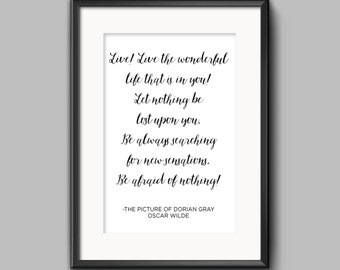 Oscar Wilde Quote, The Picture of Dorian Gray, Graduation Gift, Reader Gift, Office Wall