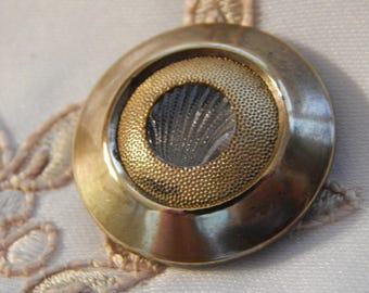 Clear Glass Molded Shell in a Shiny Brass Setting and Pad Back