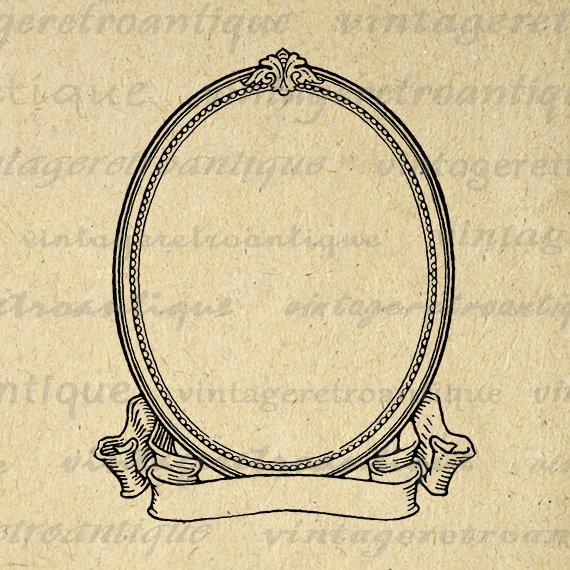Antique Scroll Art: Printable Image Elegant Oval Frame And Scroll Banner Digital