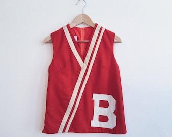 1960s Vintage Orange Wool Letterman Top Vest
