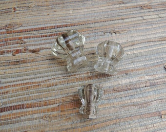 Three Clear Glass Vintage Cabinet Knobs Small Medium Large