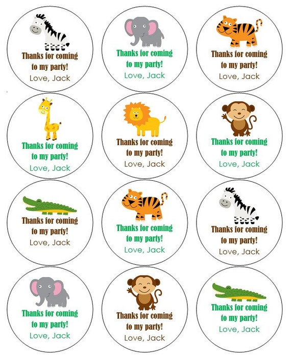 12 jungle stickers jungle theme thank you labels monkey birthday
