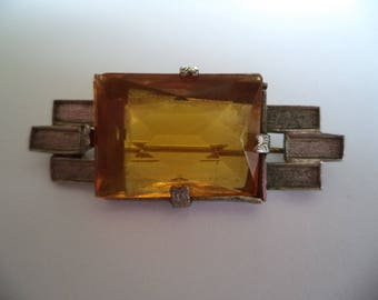 Vintage Unsigned Small Art Deco Silvertone/Yellow Faceted Stone Brooch/Pin  1920s