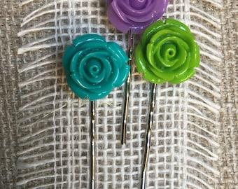 Flower Bobby Pins - Acrylic Flower Hair Pins - Flower Hair Accessories - Bold Bobby Pins - Bright Hair Jewelry - Rose Bobby Pins - Hair Pins
