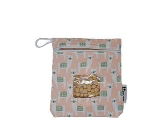 Alpaca Reusable Snack Bag or Carrying Pouch- BPA Free and Dishwasher Safe- Ready to Ship