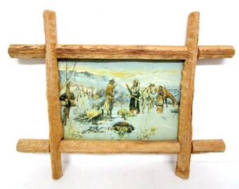 Charles M. Russell Print on Canvas, Old American West, Framed with Genuine Saguaro, American Indians, Campfire Visit, Very Old